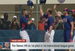 Tim Tebow Hits A Homerun In First At Bat During Instructional League Game