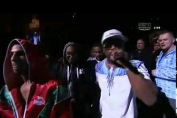 "50 Cent ""Walks Billy Dib Into Ring, Performs ""New Day"""" Video"