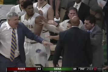Siena Basketball Coach Walks Through Imaginary Handshake Line After Game-Ending Brawl