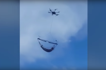 Man Casually Chills In Drone-Suspended Hammock