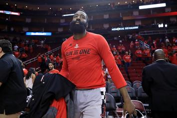 "James Harden Catches Travis Scott Performance After Game 6, Crowd Chants ""M-V-P"""