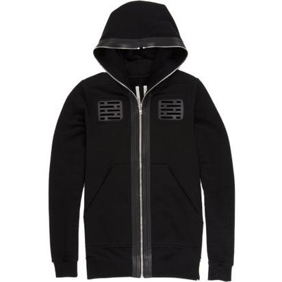 Rick Owens Leather Cutwork Fleece Hoodie- $1,275