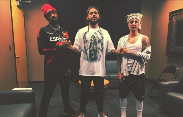 Post Malone poses with FKi and Justin Bieber.