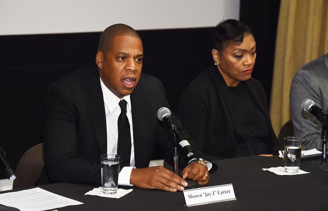 Rapper Shawn 'JAY Z' Carter and Venida Browder participate in a panel discussion during Shawn 'JAY Z' Carter, the Weinstein Company and Spike TV's announcement of a documentary event series on Kalief Browder on October 6, 2016 in New York City.