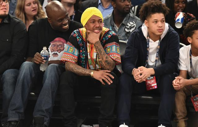 Nick Cannon (C) attends the 66th NBA All-Star Game at Smoothie King Center on February 19, 2017 in New Orleans, Louisiana.