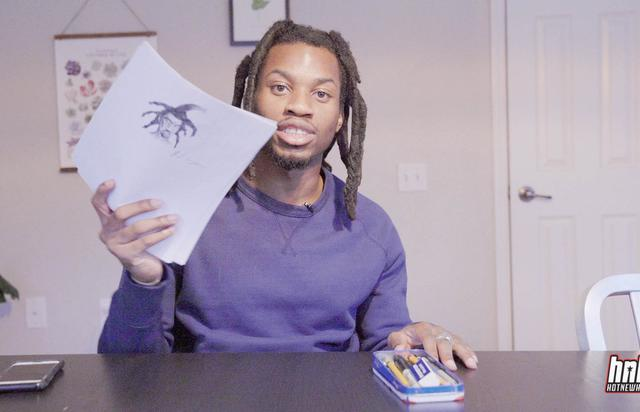 Denzel Curry shows off his drawing for HNHH