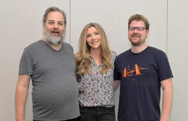 Co-creator Dan Harmon, actor Sarah Chalke and Co-creator Justin Roiland at the 'Rick and Morty' L.A. Press Junket