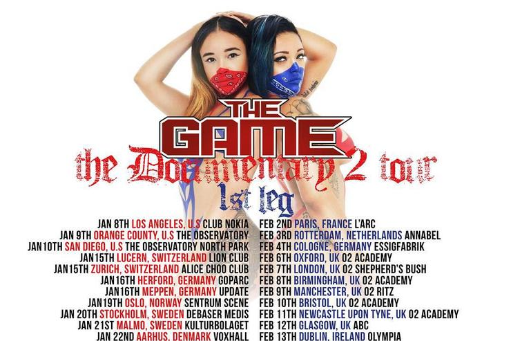 "Tour dates flyer for The Game's ""Documentary 2"" tour"
