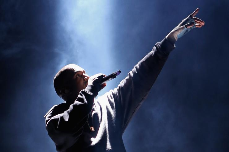 Kanye West performs at Roc Nation