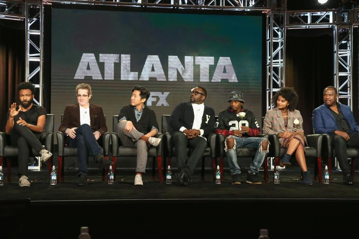 Creator/Executive Producer/Writer/Actor Donald Glover, Executive Producer Paul Simms, Director Hiro Murai, actors Brian Tyree Henry, Keith Stanfield, Zazie Beetz and Isiah Whitlock Jr. speak onstage during the 'Atlanta' panel discussion at the FX portion of the 2015 Winter TCA Tour at the Langham Huntington Hotel on January 16, 2016 in Pasadena, California. (Photo by