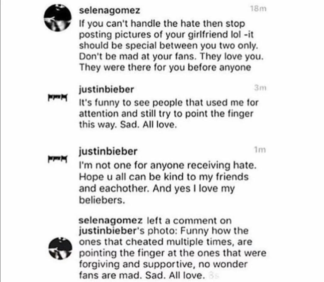 Bieber and Selena IG Back and Forth
