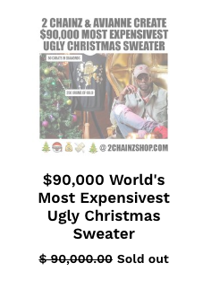 2 Chainz Sells Gold Diamond Ugly Christmas Sweater For 90000