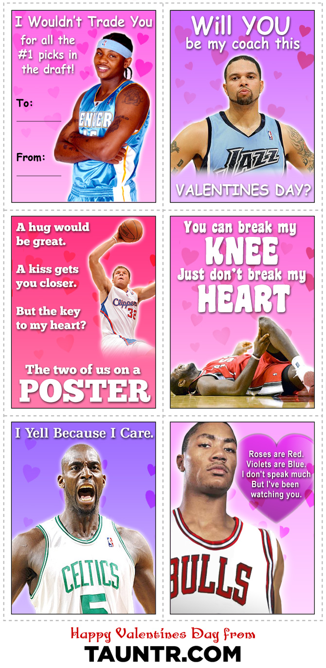 A Collection Of SportsThemed Valentines Day Cards For Your – Basketball Valentine Cards