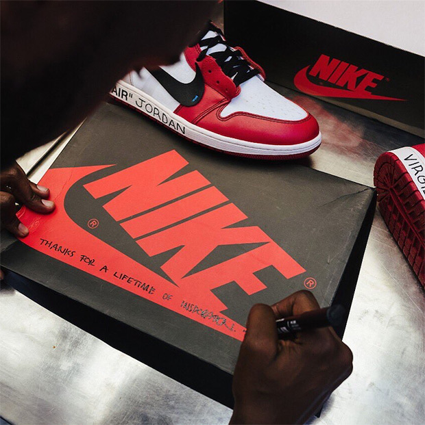 """info for ee7c9 bf8e6 ... and """"45"""" added to the heel as well as other unique detailing and a  special message on the box. Sneakers Lifestyle virgil abloh Air Jordan 1 off -white ..."""