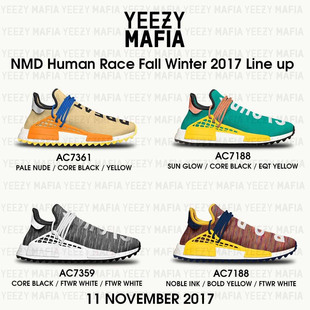 Pharrell Adidas NMD HU Tan Orange Blue Yellow