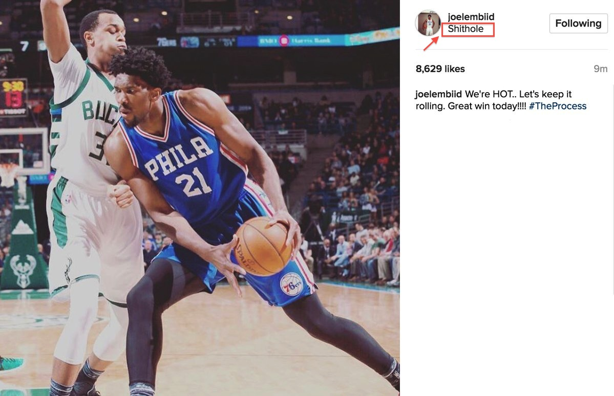 """Joel Embiid Calls Milwaukee A """"Sh*thole"""" In Hilarious Instagram Post"""